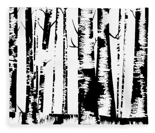 Birch Forest Black Fleece Blanket