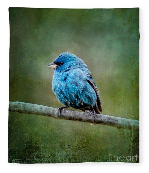 Bird In Blue Indigo Bunting Ginkelmier Inspired Fleece Blanket