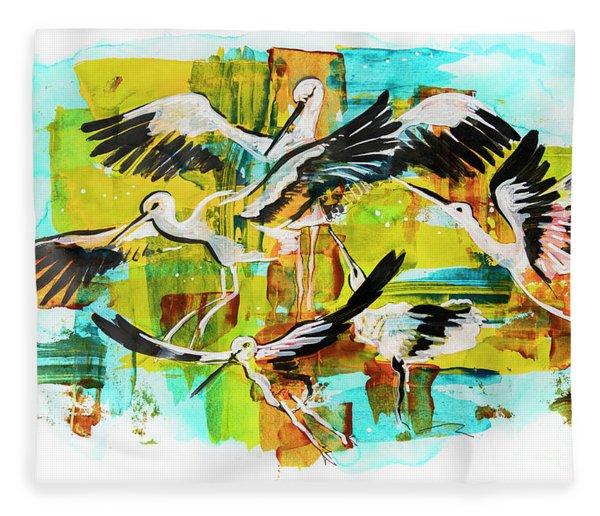 Bird Storks, Illustration  Fleece Blanket