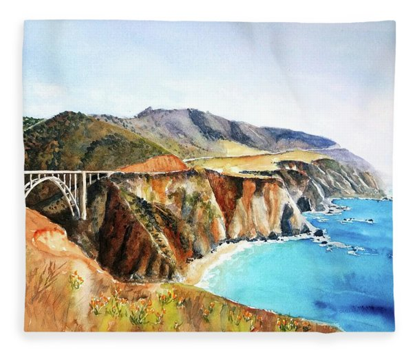 Bixby Bridge Big Sur Coast California Fleece Blanket