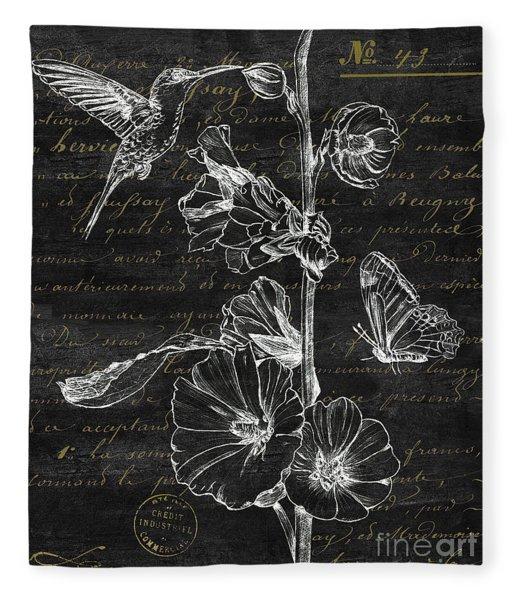 Black And Gold Hummingbirds 2 Fleece Blanket