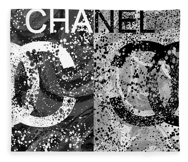 Black And White Chanel Art Fleece Blanket