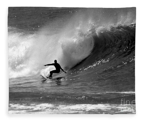 Black And White Surfer Fleece Blanket