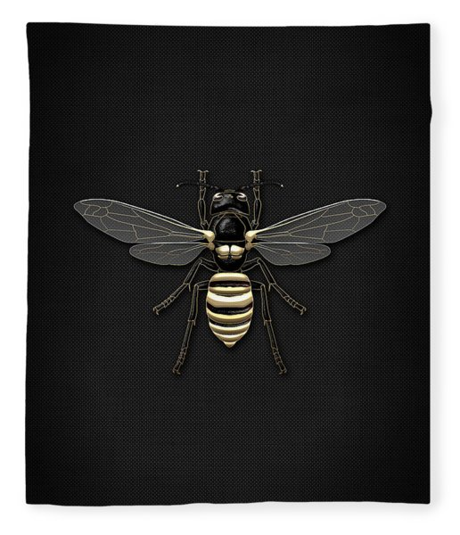 Black Wasp With Gold Accents On Black  Fleece Blanket