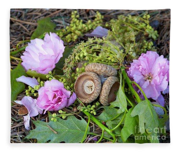 Blossoms And Acorn Fleece Blanket
