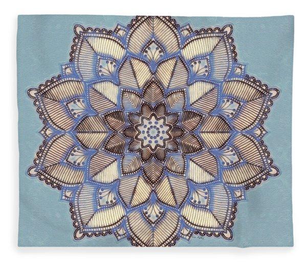 Blue And White Mandala Fleece Blanket