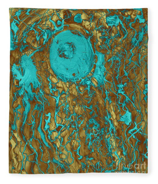 Blue And Gold Abstract Fleece Blanket