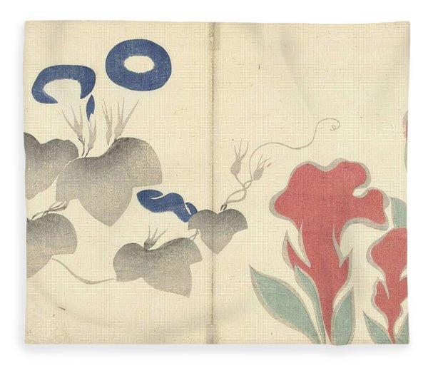Blue Bindweed And Red Flowers, Nakamura Hochu, 1826 Fleece Blanket