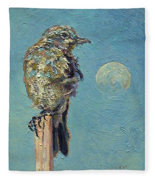 Blue Bird Moon Fleece Blanket