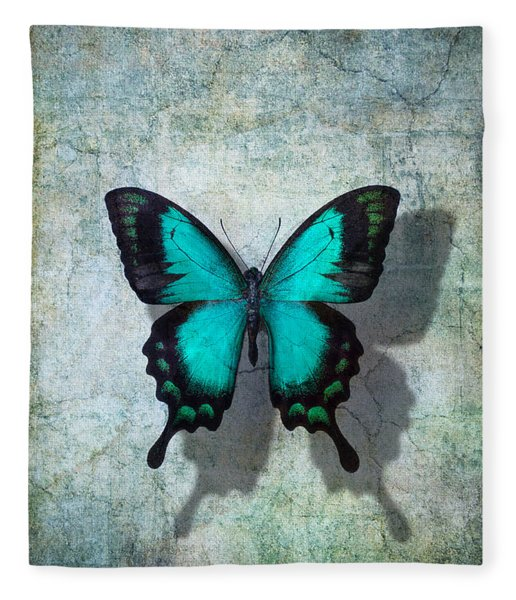 Blue Butterfly Resting Fleece Blanket
