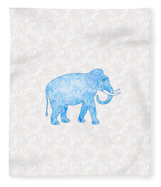 Blue Damask Elephant Fleece Blanket