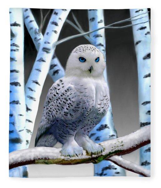 Blue-eyed Snow Owl Fleece Blanket