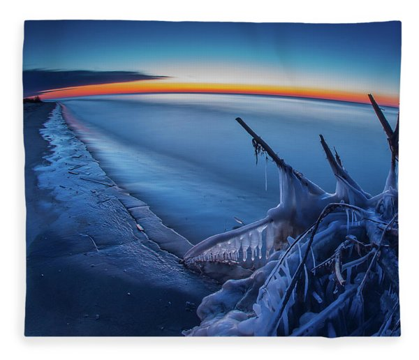 Blue Hour Fisheye Fleece Blanket