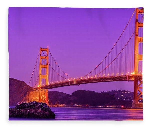 Golden Gate Bridge In The Blue Hour Fleece Blanket