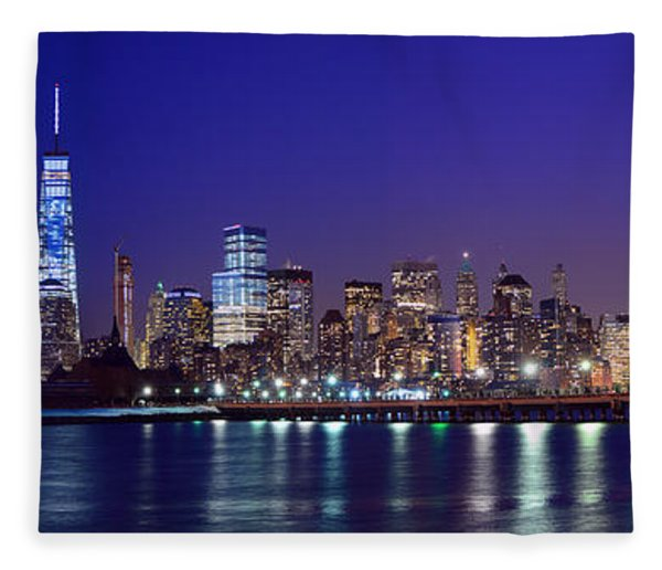 Fleece Blanket featuring the photograph Blue Hour Panorama New York World Trade Center With Freedom Tower From Liberty State Park by Raymond Salani III