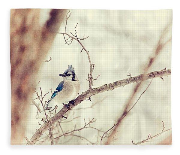Blue Jay Winter Fleece Blanket