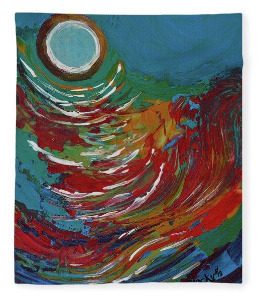 Blue Moon On The Water Fleece Blanket