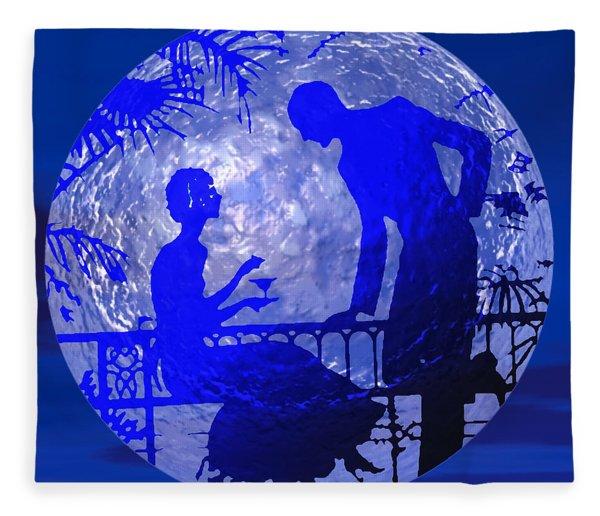 Blue Moonlight Lovers Fleece Blanket
