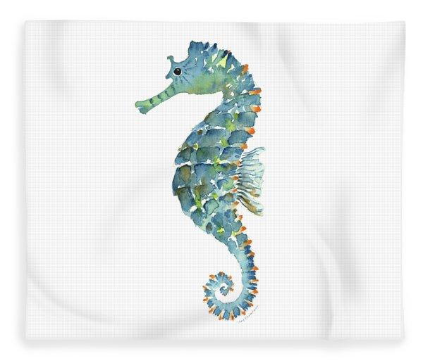 Blue Seahorse Fleece Blanket