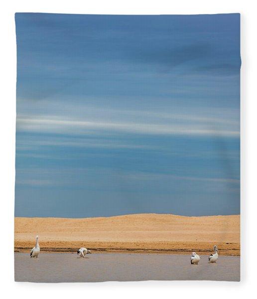 Blue Sky Pelicans Fleece Blanket