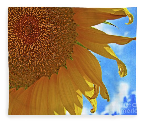Blue Sky Sunflower Fleece Blanket