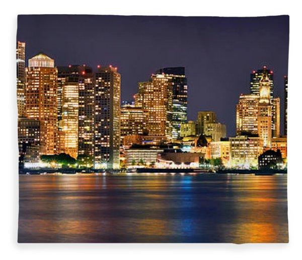 Boston Skyline At Night Panorama Fleece Blanket
