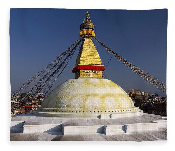 Boudhanath Stupa Fleece Blanket