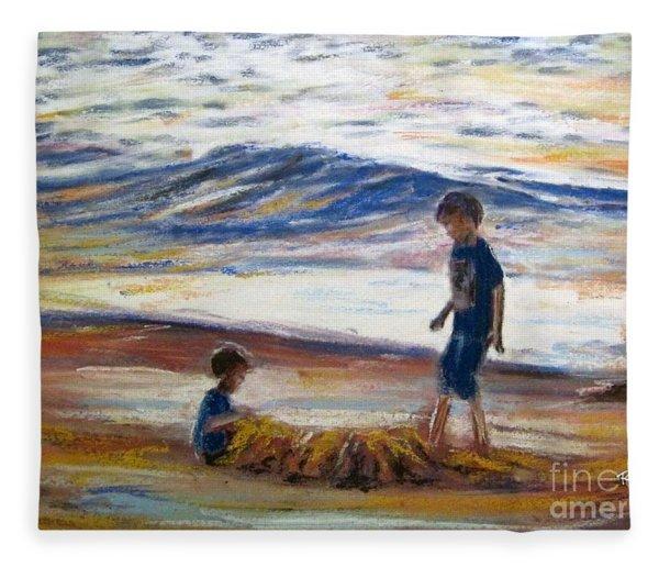 Boys Playing At The Beach Fleece Blanket