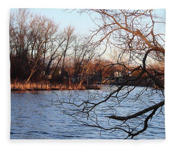 Branches Over Water Fleece Blanket
