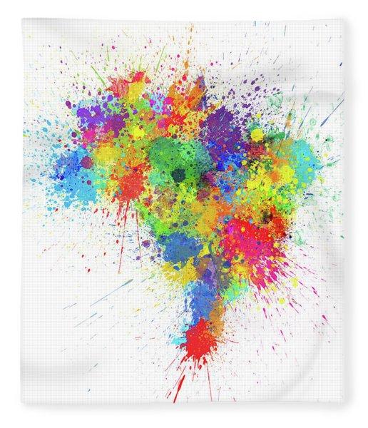 Brazil Paint Splashes Map Fleece Blanket