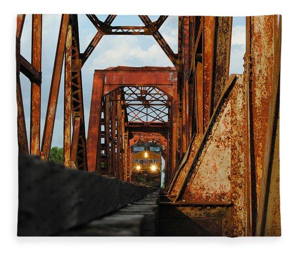 Brazos River Railroad Bridge Fleece Blanket