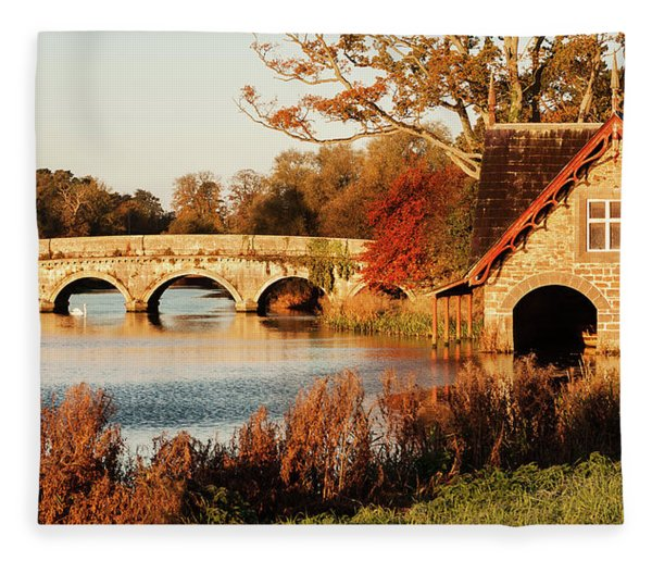 Fleece Blanket featuring the photograph Bridge And Boat House On The Rye Water - Maynooth, Ireland by Barry O Carroll