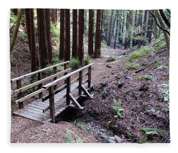 Bridge In The Redwoods Fleece Blanket