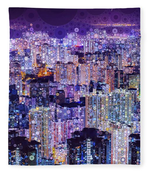 Fleece Blanket featuring the mixed media Bright Lights, Big City by Susan Maxwell Schmidt