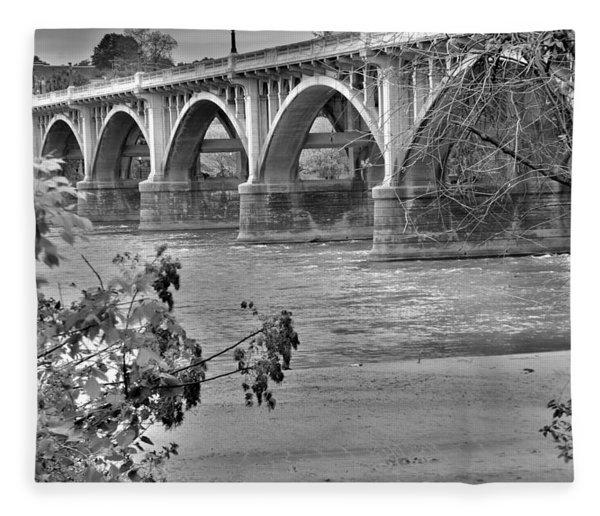 Gervais Street Bridge Black And White Fleece Blanket
