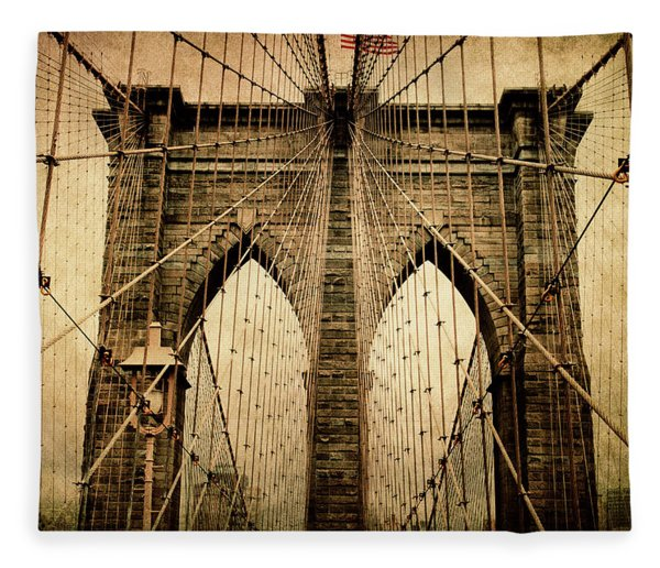 Brooklyn Bridge Nostalgia Fleece Blanket