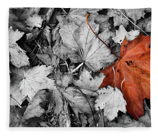 Brown Maple Leaf Fleece Blanket