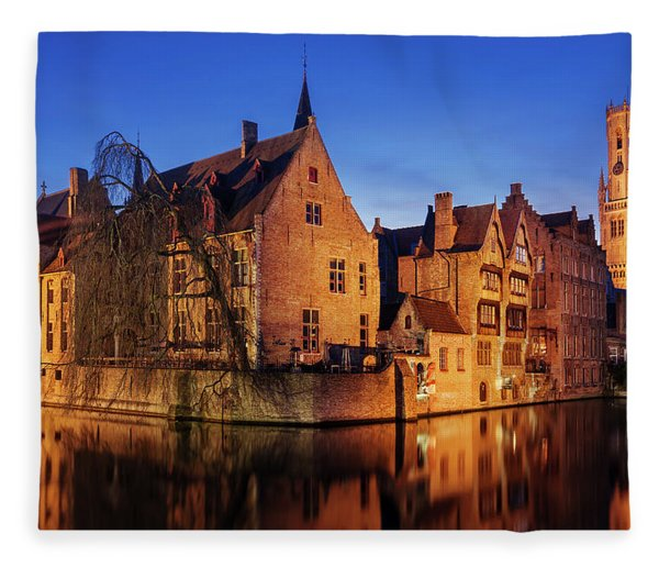 Fleece Blanket featuring the photograph Bruges Architecture At Blue Hour by Barry O Carroll