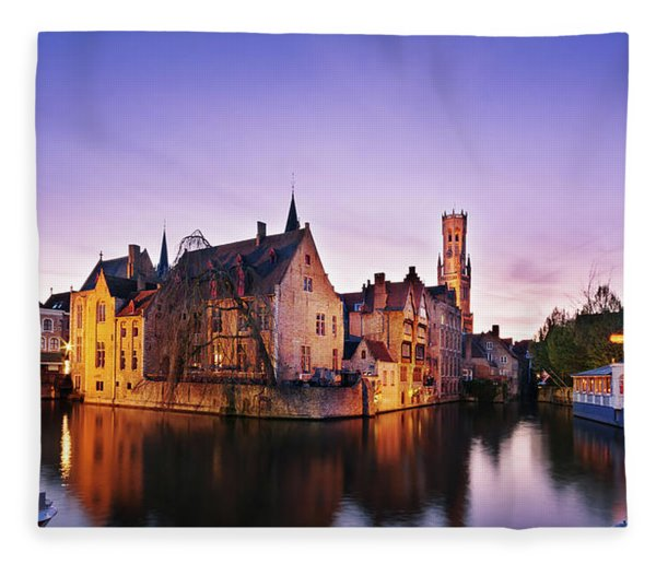 Fleece Blanket featuring the photograph Bruges At Dusk by Barry O Carroll