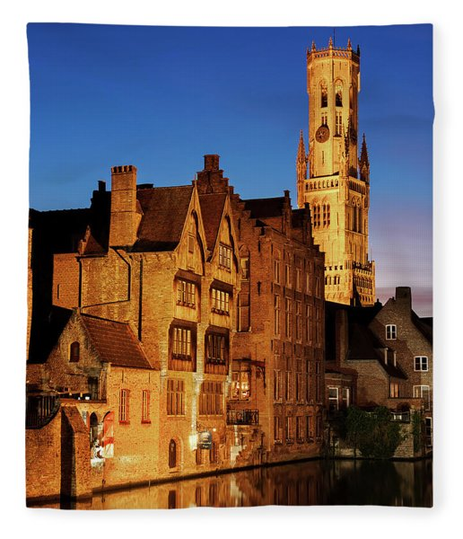 Fleece Blanket featuring the photograph Bruges Belfry At Night by Barry O Carroll