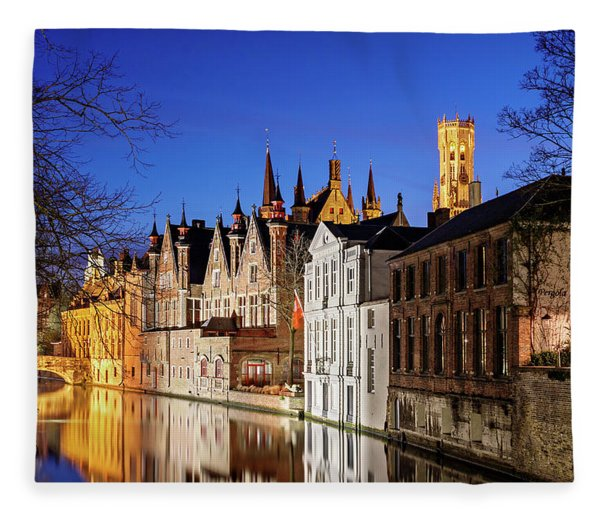 Fleece Blanket featuring the photograph Bruges Canal At Night by Barry O Carroll