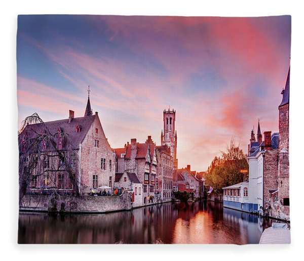 Fleece Blanket featuring the photograph Bruges Sunset by Barry O Carroll