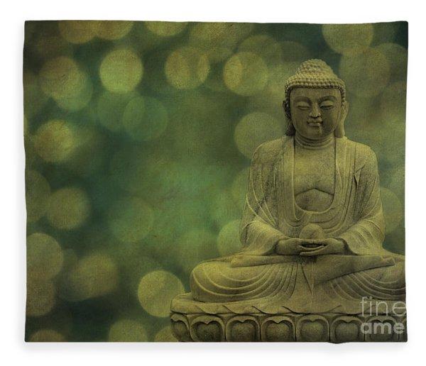 Buddha Light Gold Fleece Blanket