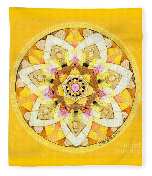 Buddha Sun Mandala Fleece Blanket