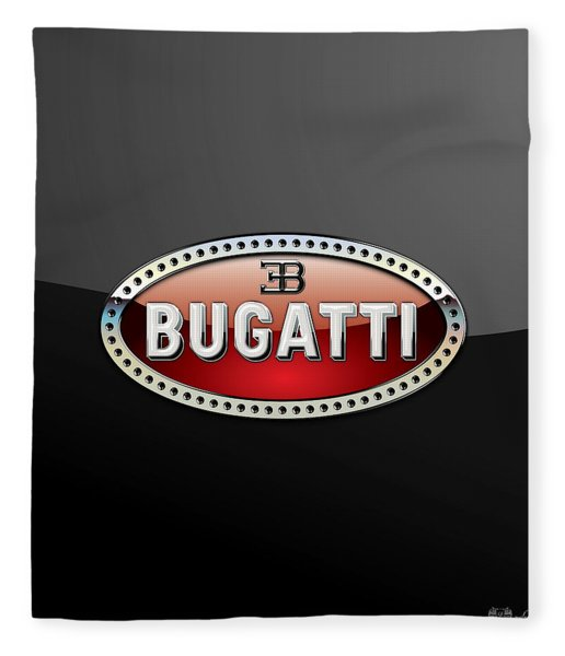 Bugatti - 3 D Badge On Black Fleece Blanket