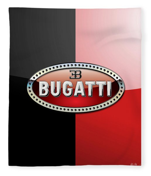 Bugatti 3 D Badge On Red And Black  Fleece Blanket