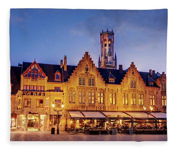 Fleece Blanket featuring the photograph Burg Square Architecture At Night - Bruges by Barry O Carroll