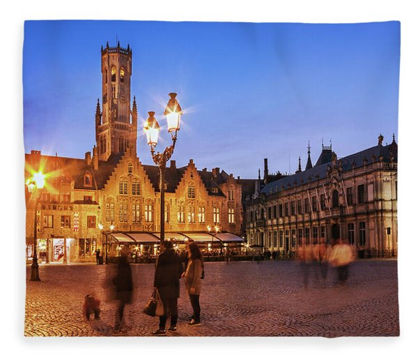 Fleece Blanket featuring the photograph Burg Square At Night - Bruges by Barry O Carroll