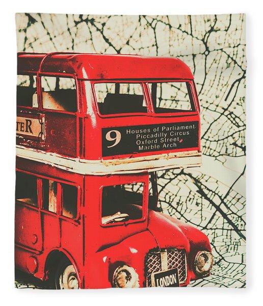 Bus Line Art Fleece Blanket