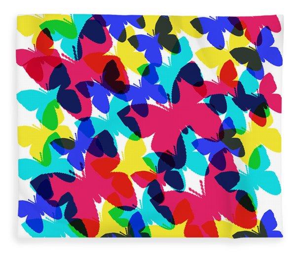 Fleece Blanket featuring the digital art Butterflies by Bee-Bee Deigner